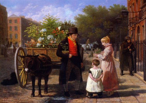Agasse, Jacques Laurent: The Flower Seller in London. (Victorian Scene) Fine Art Print/Poster. Sizes: A4/A3/A2/A1 (00653)